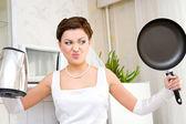 Bride hates household chores — Stock Photo