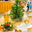 New Year's banquet restaurant table - Stock Photo