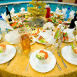 Foto Stock: New Year's banquet restaurant table