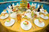 New Year's banquet restaurant table — Stock Photo
