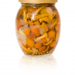 Jar of marinated mushrooms — Photo