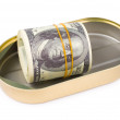 Bundle of US dollars in can — Stock Photo
