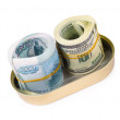 Bundles of US dollars and russirubles in can — Stock Photo #4668214