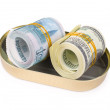 Bundles of US dollars and russian rubles in can — Stock Photo