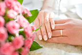 Hands of just married — Stock Photo