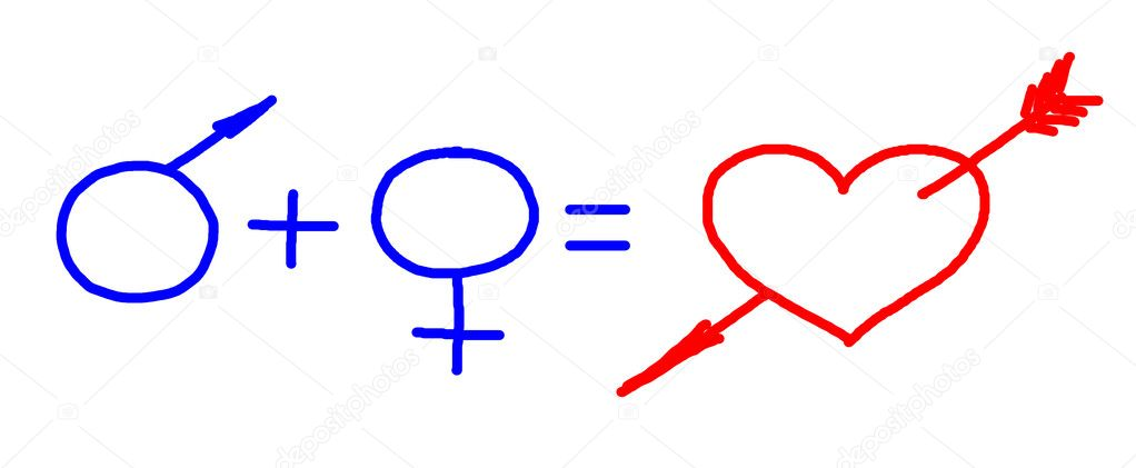 Signs of male sex and female one summming up and making heart pierced with arrow, drawing — Stock Photo #4892218