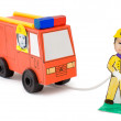 Fire brigade, kid's cardboard handicraft — Stock Photo