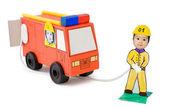 Fire brigade, kid's cardboard handicraft — Stock Photo