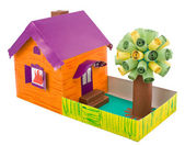Kid's cardboard handicraft — Stock Photo