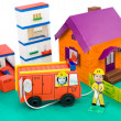 Fire control, kid's cardboard handicraft — Stock Photo #5260152