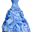 Blue satin evening dress, over white - Stock Photo