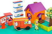 Fire control, kid's cardboard handicraft — Stock Photo