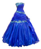 Blue organza evening dress, over white — Stock Photo