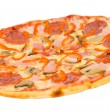 Pizza with bacon, peperoni and mushrooms — Stockfoto