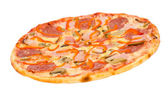 Pizza with bacon, peperoni and mushrooms — Stock Photo