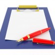 Pen on clipboard. Empty sheet of paper — Stock Photo #5219332