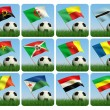Stock Photo: Soccer ball in the grass. African flags. 3d