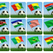 Soccer ball in the grass. African flags. 3d - Stock Photo