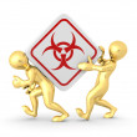 Two men with simbol of radiation — Stock Photo