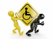 Two men with sign wheelchair — Stock Photo