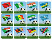 Soccer ball in the grass. African flags. 3d — Stock Photo