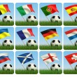 Soccer ball in the grass and the flag against the blue sky. — Stock Photo