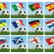 Soccer ball in the grass and the flag against the blue sky. — Stock Photo #5269601