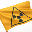Flag with simbol of radiation. 3d — Stock Photo