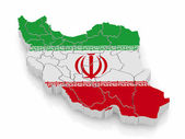Map of Iran in Iranian flag colors — Stock Photo