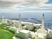 Three-dimensional layout of Fukushima nuclear plant — Stock Photo