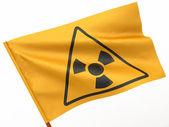 Flag with simbol of radiation. 3d — Stock Photo