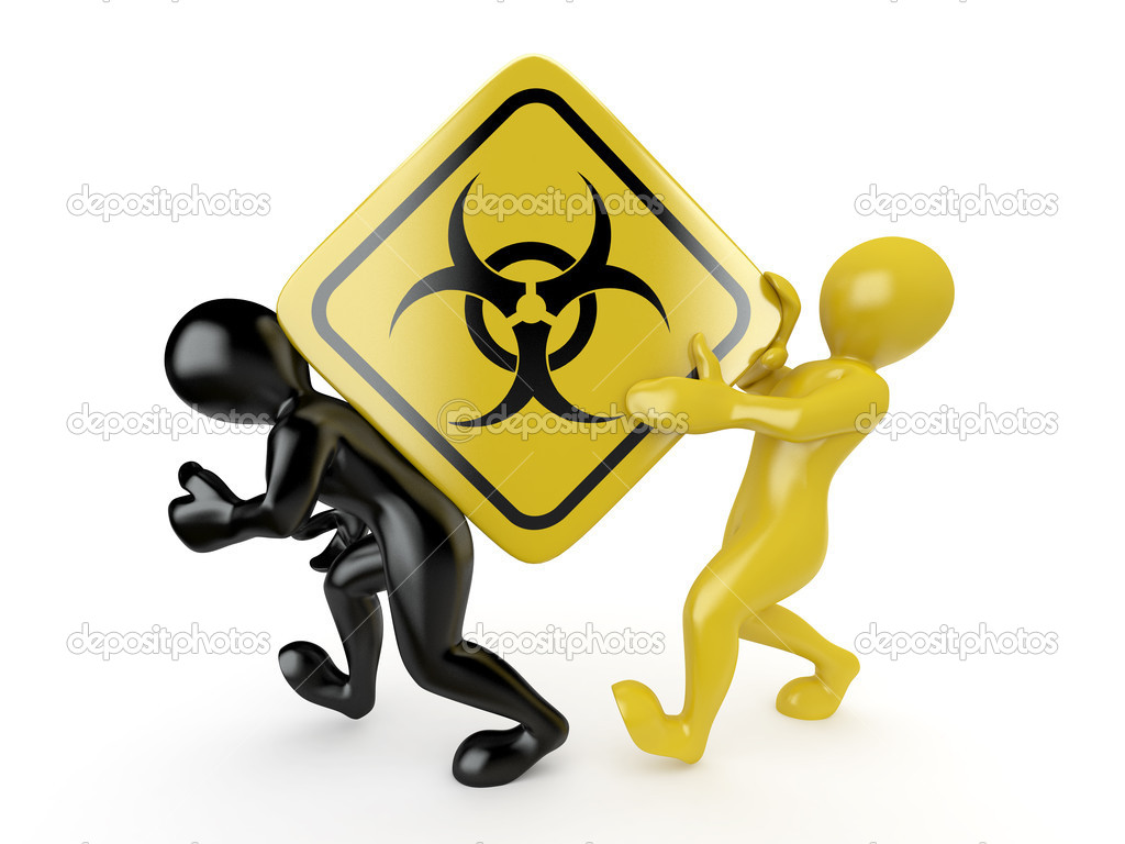 Two men with simbol of radiation. 3d  Stock Photo #5269625