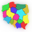 Three-dimensional map of Poland. 3d — Stock Photo