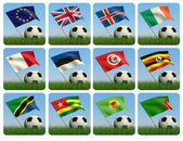 Soccer ball in the grass and the flag. 3d — Stock Photo