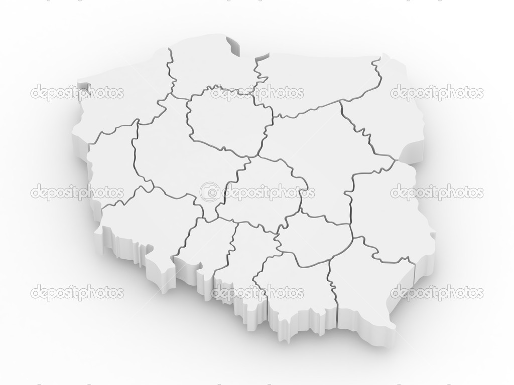 Three-dimensional map of Poland on white isolated background. 3d — Stock Photo #5321491