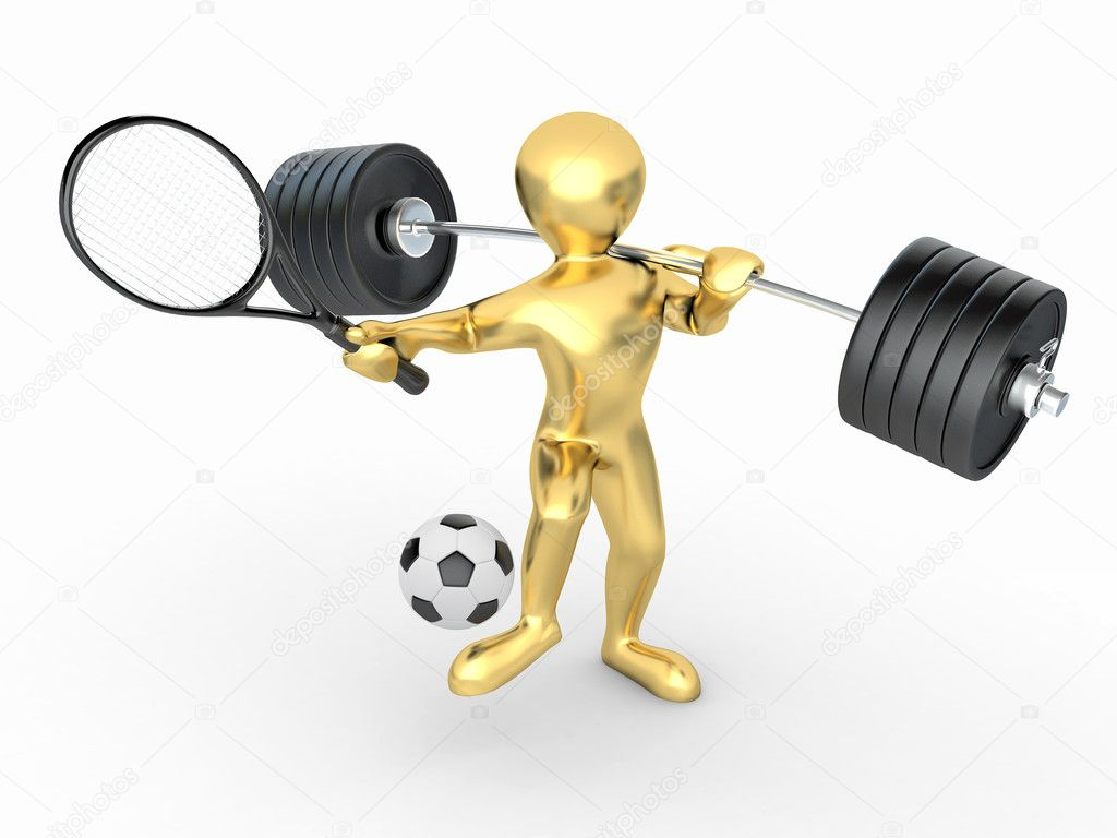 Men with barbell, racket and ball. 3d — Stock Photo #5321531