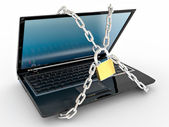 Laptop with chains and lock on white isolated background — Stock Photo