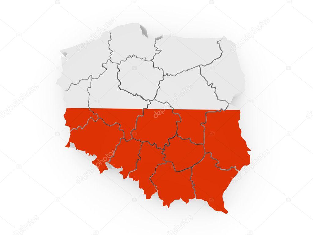 在波兰国旗颜色的波兰地图