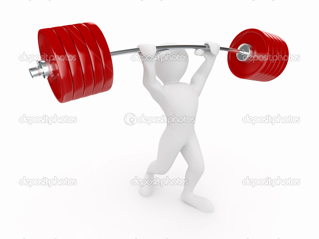 Men with barbell on white isolated background. 3d — Stock Photo #5366856