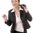Excited business woman with binoculars — Stock Photo