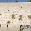 Prayers and tourists near Jerusalem wall — Stock Photo