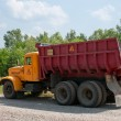 Radioactive dumper truck — Stock Photo