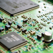 Detail of the front of a printed circuit board — 图库照片