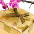 Gift box with purple orchid — Stock Photo #3951005