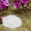 Royalty-Free Stock Photo: Spa essentials (bath salt and flowers of orchids)