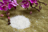 Spa essentials (bath salt and flowers of orchids) — Stock Photo