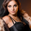 Beautiful fashionable woman with fur — Stock fotografie #3978710