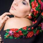 Fashion woman with black headwear — Stock Photo