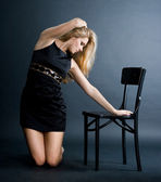 Pretty girl in black dress — Stock Photo