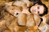 Beautiful woman in a fur coat — Fotografia Stock